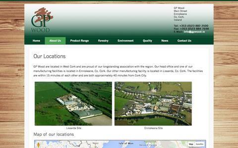 Screenshot of Locations Page gpwood.ie - Our Locations | GP Wood - captured Oct. 23, 2014