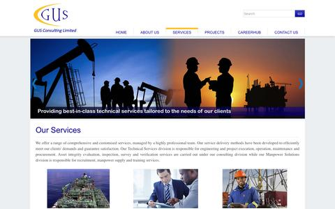 Screenshot of Services Page gusconsulting.com - Our Services :: GUS CONSULTING :: Recruitment, Technical Services, Consultancy, Manpower Services in Lagos   Nigeria - captured Jan. 24, 2016