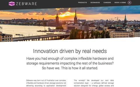 Screenshot of About Page zebware.com - About Zebware - Born in Stockholm, Sweden - captured Nov. 28, 2016