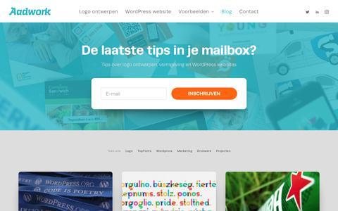 Screenshot of Blog aadwork.nl - Logo en huisstijl ontwerpen? - Tips en info op het Aadwork-blog - captured July 28, 2018