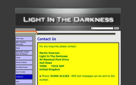 Screenshot of Contact Page lightinthedarkness.eu - Contact Us - Light In The Darkness - captured Sept. 30, 2014