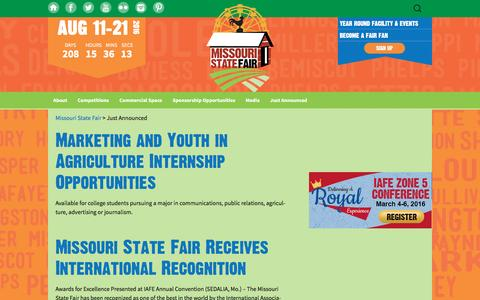 Screenshot of Press Page mostatefair.com - Just Announced   Missouri State Fair - captured Jan. 15, 2016