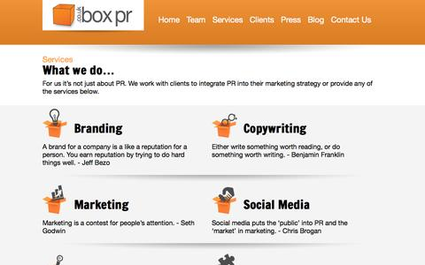 Screenshot of Services Page boxpr.co.uk - Box PR   » Services - captured Sept. 30, 2014