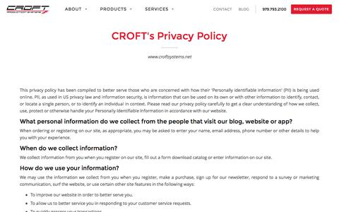 Screenshot of Privacy Page croftsystems.net - Privacy Policy l Croft Production Systems l Policy for Users - captured Oct. 3, 2016