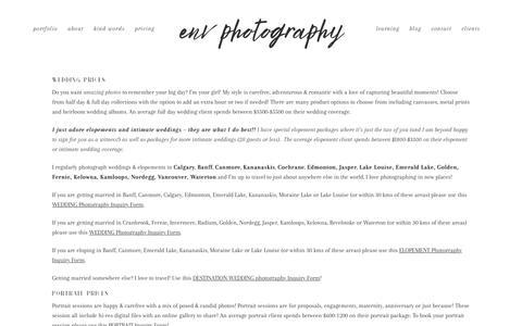 Screenshot of Pricing Page envphotography.com - Wedding, Portrait & Proposal Photography pricing investment details - captured Nov. 4, 2018