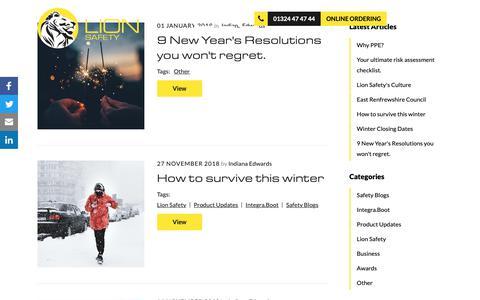 Screenshot of Blog lionsafety.co.uk - Blog | Lion Safety - captured Dec. 8, 2018
