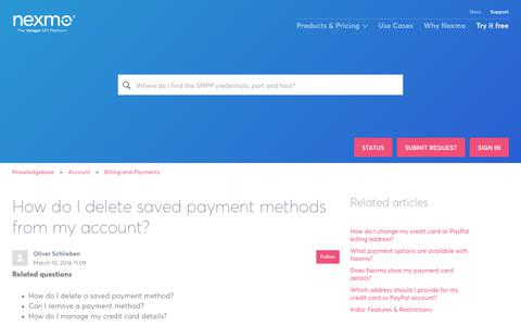 How do I delete saved payment methods from my account? – Knowledgebase