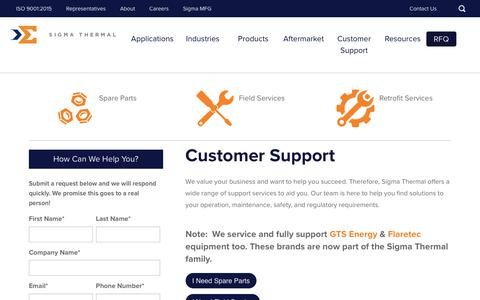 Screenshot of Support Page sigmathermal.com - Customer Service | Sigma Thermal - captured Sept. 9, 2019