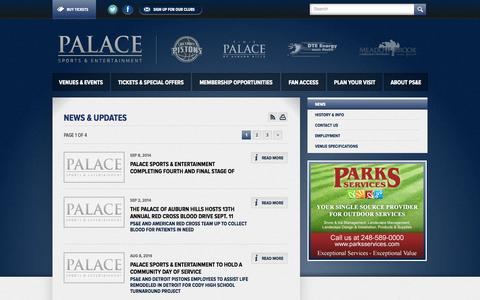Screenshot of Press Page palacenet.com - PALACE SPORTS & ENTERTAINMENT :: News - captured Sept. 22, 2014