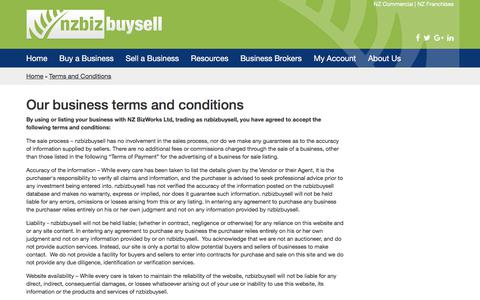 Screenshot of Terms Page nzbizbuysell.co.nz - Our business terms and conditions - NZ BizBuySell - captured Oct. 23, 2017