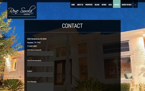 Screenshot of Contact Page renesorola.com - Contact | Rene Sorola Properties | Houston Luxury Real Estate Agency - captured Oct. 7, 2014