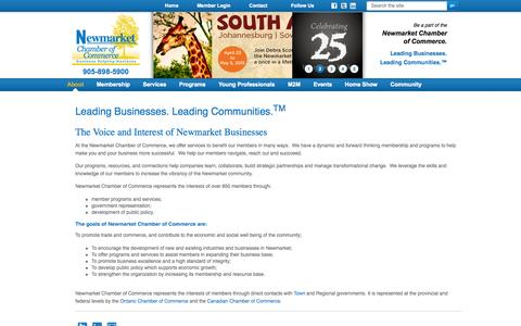 Screenshot of About Page newmarketchamber.ca - Newmarket Chamber of Commerce - captured Oct. 6, 2014