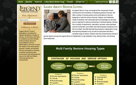 Screenshot of Services Page legendseniorliving.com - Senior Personal Choices Lifestyle Healthcare Senior Apartments Meal Plans Activities - Legend Senior Living - captured Dec. 9, 2015