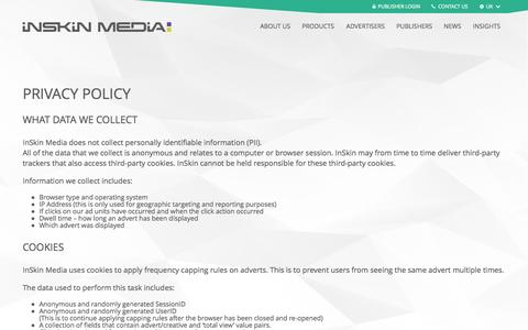 Screenshot of Privacy Page inskinmedia.com - Privacy Policy | InSkin Media - captured Sept. 23, 2014