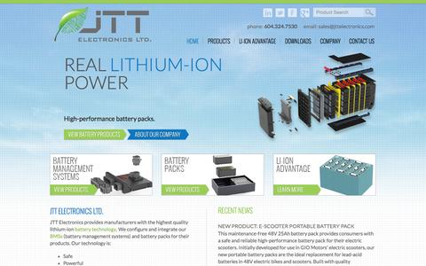 Screenshot of Home Page jttelectronics.com - Lithium-ion Battery Management Systems and Battery Packs | JTT Electronics Ltd. - captured Oct. 6, 2014
