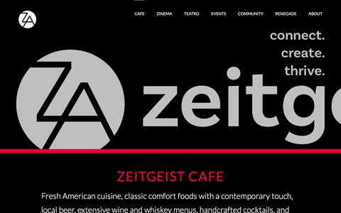 Screenshot of Menu Page Hours Page zeitgeistarts.com - CAFE - Zeitgeist - captured July 11, 2018