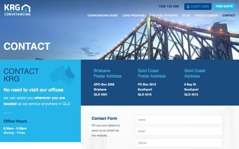 Screenshot of Contact Page krg.com.au - KRG Conveyancing Lawyers | Contact - captured Feb. 12, 2016