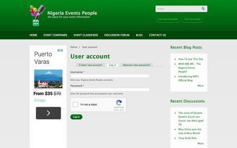 Screenshot of Login Page nigeriaeventspeople.com - User account | Nigeria Events People - captured Dec. 31, 2016