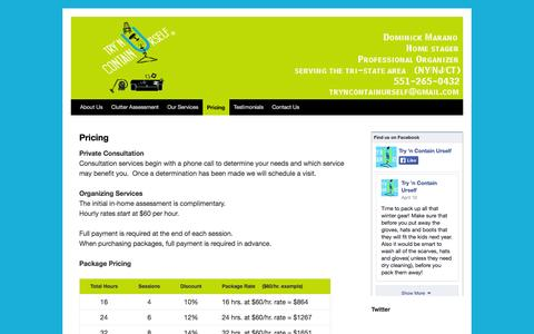Screenshot of Pricing Page tryncontainurself.com - Pricing | Try'N Contain Urself - captured Oct. 9, 2014