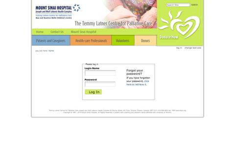Screenshot of Login Page tlcpc.org - The Temmy Latner Centre for Palliative Care - captured Oct. 27, 2014