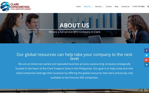 Screenshot of About Page clarkoutsourcing.com - About Us - Clark Outsourcing - captured Jan. 18, 2018