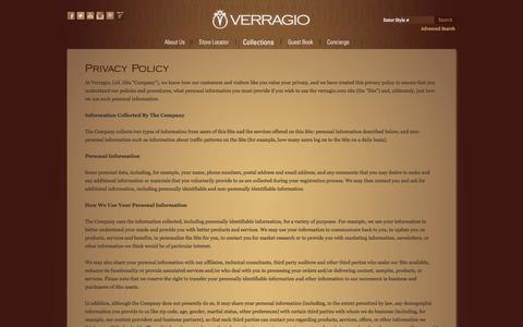 Screenshot of Privacy Page verragio.com - VERRAGIO - Privacy Policy - captured Sept. 19, 2014