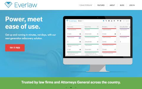 Screenshot of Home Page everlaw.com - Everlaw - captured April 15, 2015