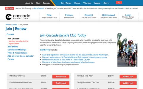 Screenshot of Signup Page cascade.org - Join   Renew   Cascade Bicycle Club - captured Sept. 25, 2014