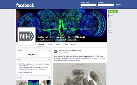 Screenshot of Facebook Page facebook.com - National Institutes of Health (NIH) - Bethesda, Maryland - Medical Research, Government Organization | Facebook - captured Oct. 22, 2014