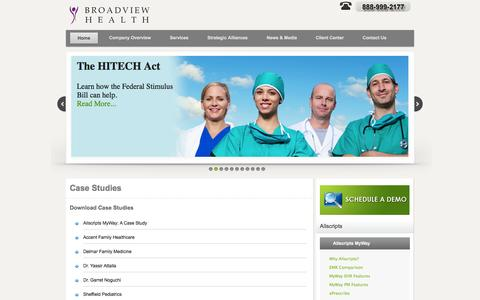 Screenshot of Case Studies Page broadviewhealthcare.com - Broadview Healthcare Case Studies - captured Sept. 30, 2014