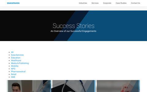 Screenshot of Case Studies Page diaspark.com - Case Studies - Diaspark.com - captured Dec. 9, 2016