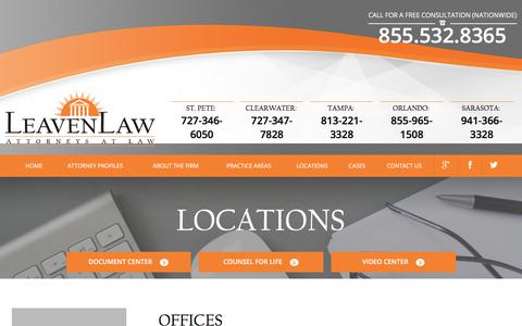Screenshot of Locations Page leavenlaw.com - Offices | LeavenLaw | Florida Attorney - captured Dec. 24, 2017