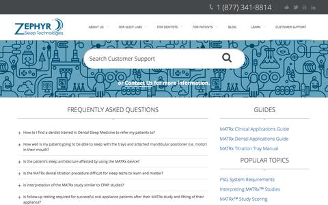 Screenshot of Support Page zephyrsleep.com - Customer Support | Zephyr Sleep Technologies - captured Oct. 9, 2014