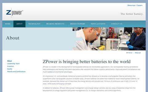 Screenshot of About Page zmp.com - About ZPower - captured Sept. 17, 2014