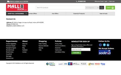 Screenshot of Contact Page mall8door.com - contact us - captured July 22, 2016