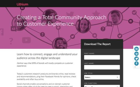 Screenshot of Landing Page lithium.com - Creating a Total Community Approach  to Customer Experience | Lithium Resources - captured March 21, 2016