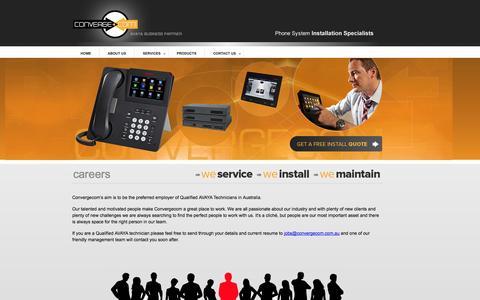 Screenshot of Jobs Page convergecom.com.au - ConvergeCom | Avaya Business Partner - captured Sept. 30, 2014