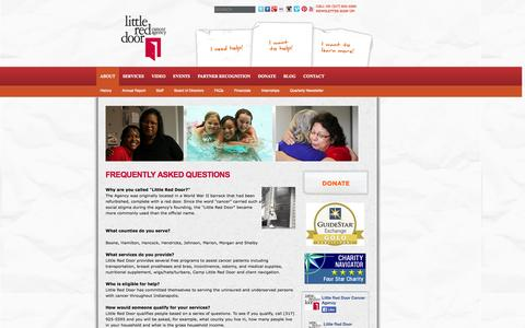 Screenshot of FAQ Page littlereddoor.org - Frequently Asked Questions | Little Red Door Cancer Agency - captured Oct. 2, 2014