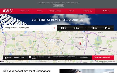 Screenshot of avis.co.uk - Car Hire Birmingham Airport | Avis UK - Avis Office - captured July 16, 2017