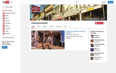 Screenshot of YouTube Page youtube.com - VisitVirginiaCityNV  - YouTube - captured Oct. 26, 2014