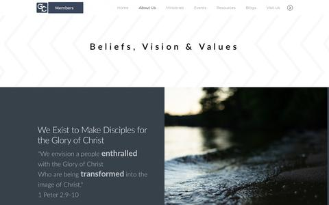 Screenshot of About Page gcfmn.org - Glory of Christ Fellowship | About Us - captured Sept. 29, 2018