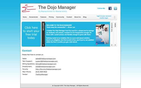 Screenshot of Contact Page thedojomanager.com - Contact | The Dojo Manager - captured Oct. 7, 2014