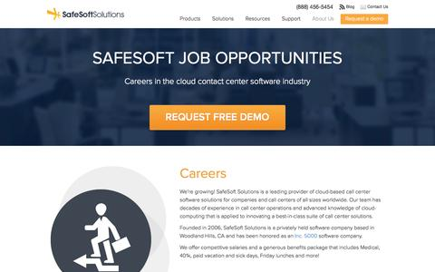 Screenshot of Jobs Page safesoftsolutions.com - Careers | SafeSoft Solutions Cloud-based Call Center - captured Sept. 19, 2014