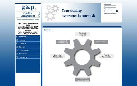 Screenshot of Services Page gpqmbvba.com - g & p - Quality Management BVBA - Services - captured Oct. 8, 2014