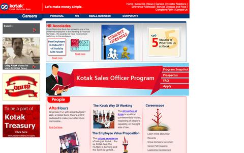 Screenshot of Jobs Page kotak.com - Career in Kotak Mahindra Bank | Jobs in Kotak Bank | Best Employer Private Bank & Workplaces in India - captured Dec. 23, 2015
