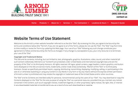 Screenshot of Terms Page arnoldlumber.com - Terms of Use - Arnold Lumber - captured Oct. 30, 2019