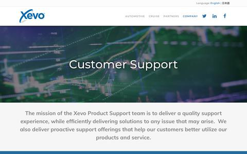 Screenshot of Support Page xevo.com - Connected Car Platform, Automotive Data Solutions - Xevo - captured July 7, 2018