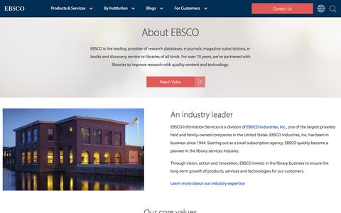 Screenshot of About Page ebsco.com - About EBSCO Information Services - captured May 16, 2018