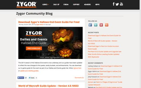 Screenshot of Press Page zygorguides.com - Zygor Guides - captured Oct. 26, 2014