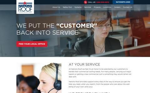 Screenshot of Support Page nationsroof.com - Customer service drives our growth. Our goal is to provide impeccable customer service, installing high quality commercial roofs, for the best value, the safest way possible. - captured Oct. 20, 2018